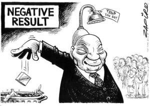 """Negative Result"" - Zapiro cartoon"